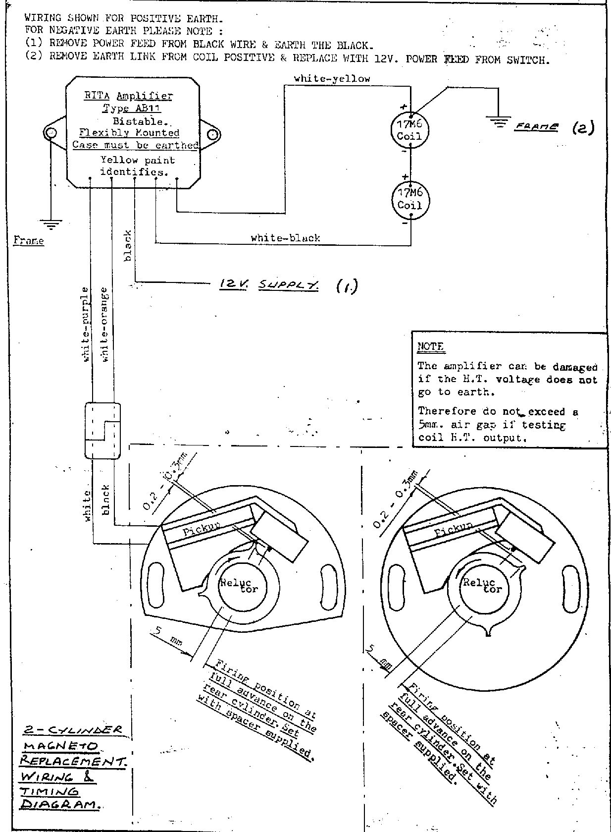 Diagram for Installing the LR134 RITA Ignition (Magneto replacement -  single/parallel twin)